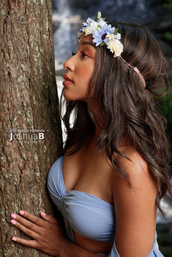beautiful woman mixed long hair goddess dress tree