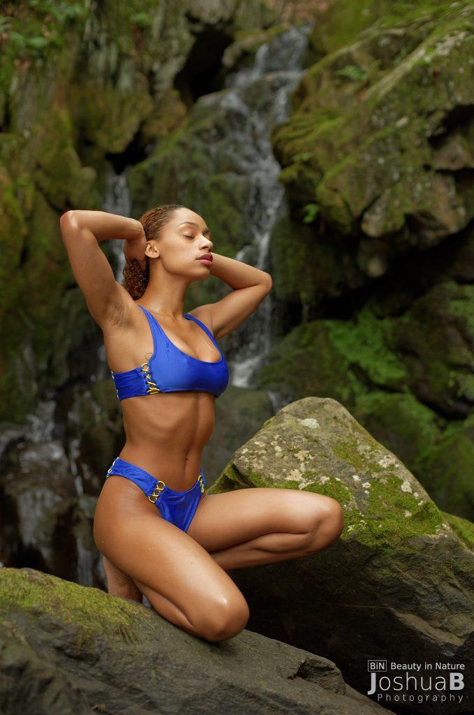 young petite woman Forever 21 bikini blue