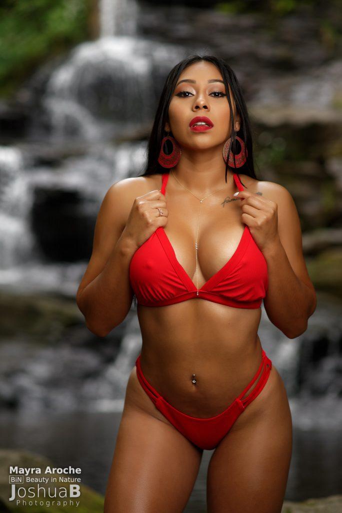 Red bikini model waterfall