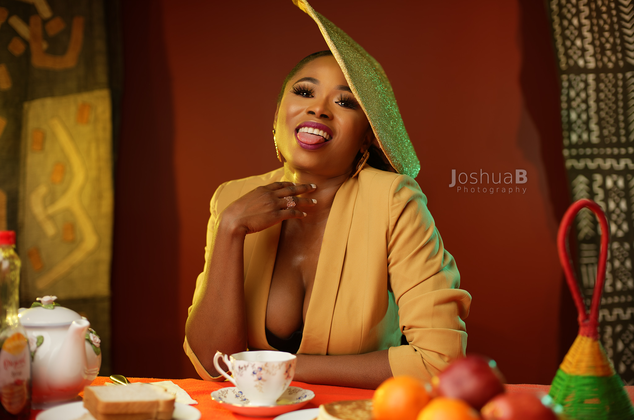 Abidemi Oke Michael wearing yellow Debikheri fashion