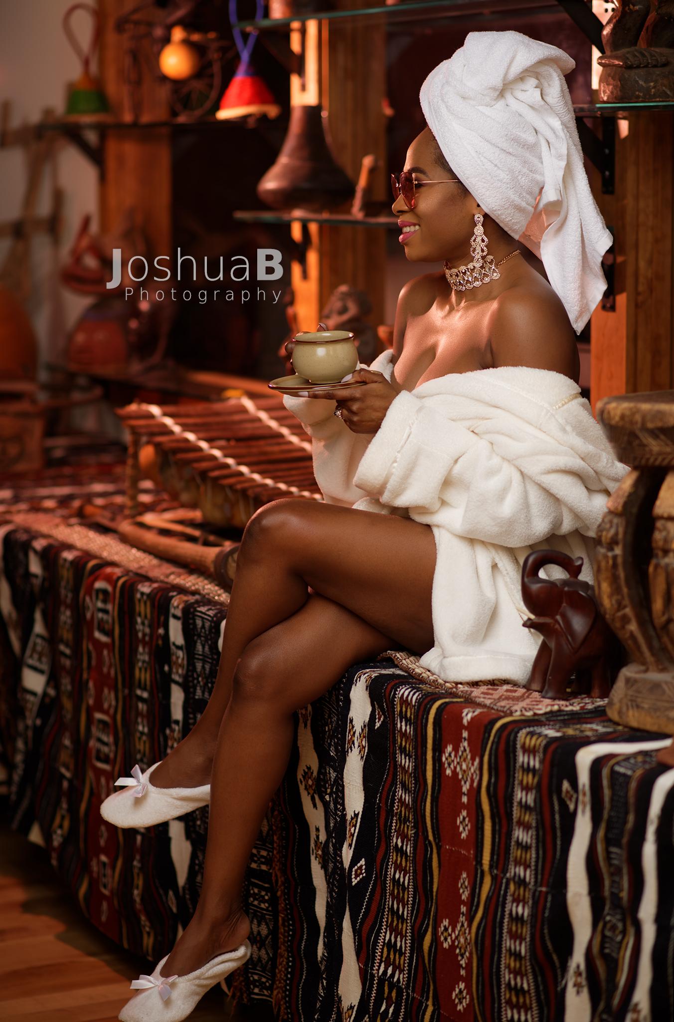 Abidemi Oke fashion blogger in white bath towels