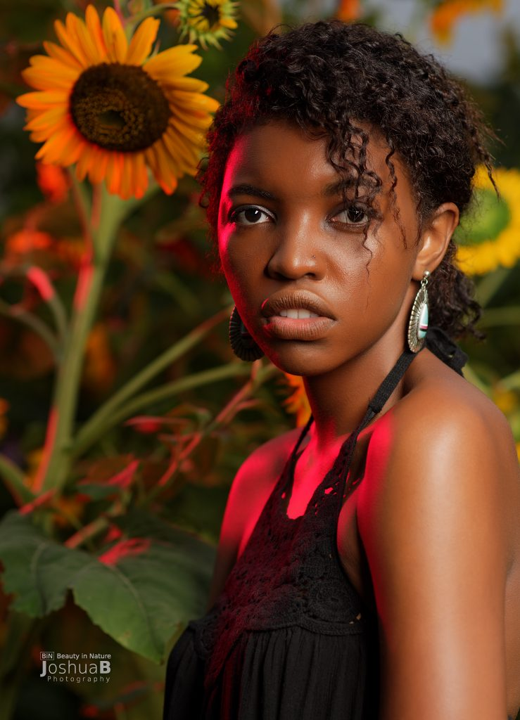 Anika in sunflowers with dramatic lighting
