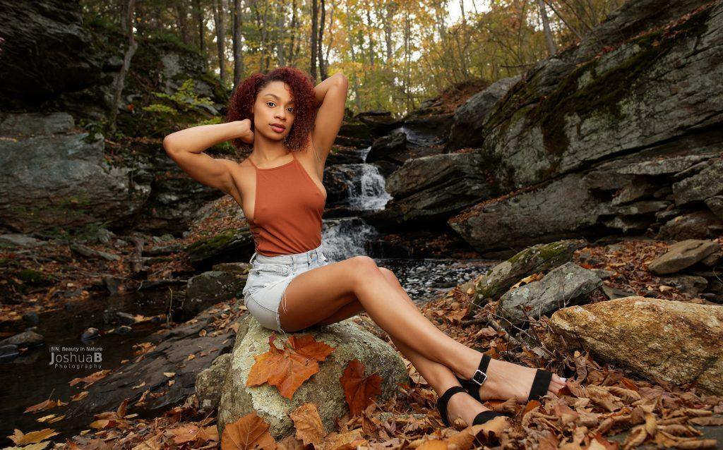 Tysheika Perez modeling at Connecticut waterfall