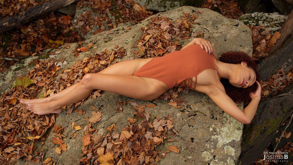 Tysheika Perez modeling on rock